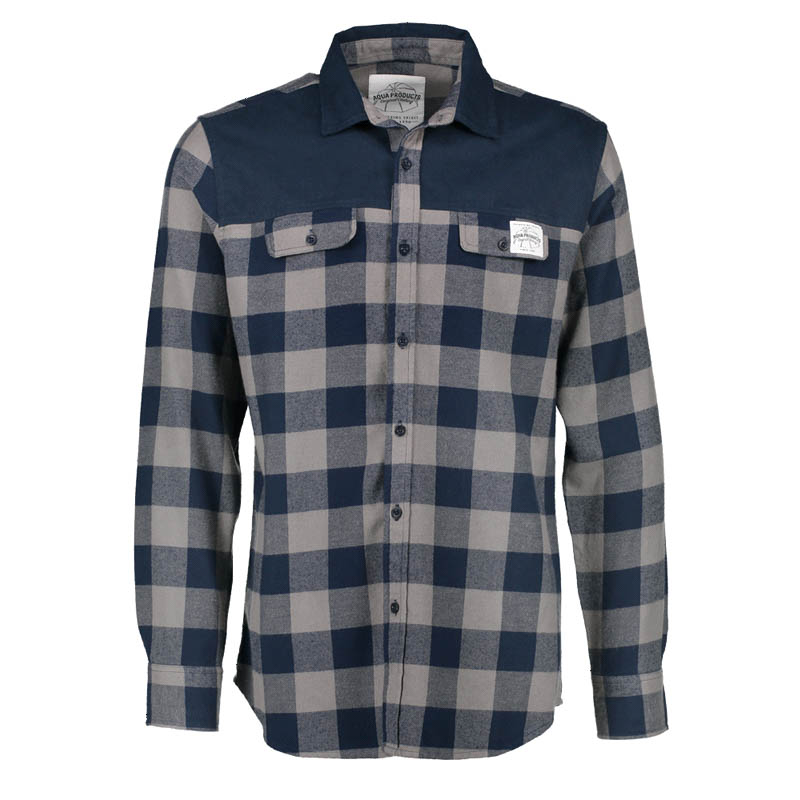 Flanelová košile - Long Sleeve Blue Check Flannel Shirt XXL