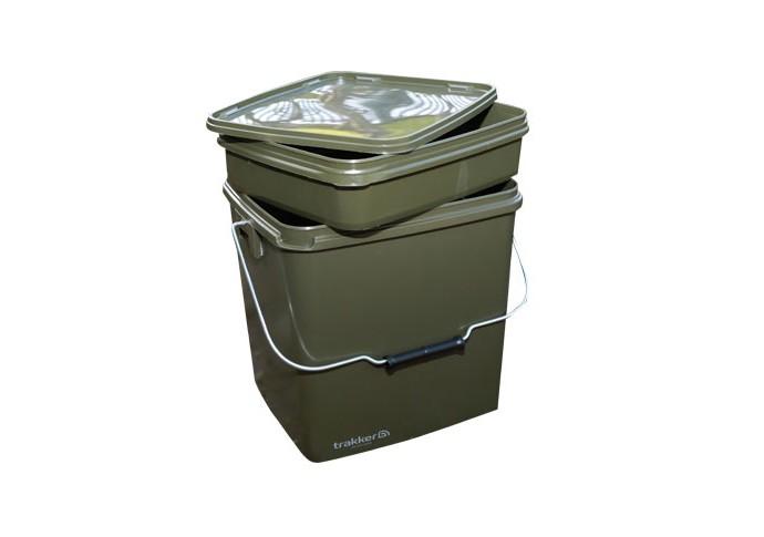 TRAKKER Plastový box - Olive Square Container inl. Tray - 13L