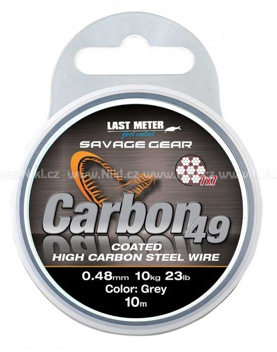 Carbon49 Savage Gear 0,48mm 11kg - Coated Grey 10m